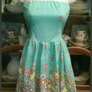Strapless SunDress Teal and Multico small